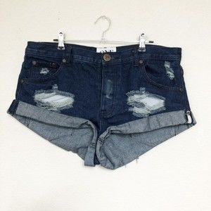 One by One Teaspoon Bandits Distressed Shorts